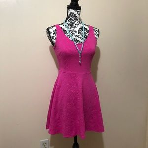 Hot Pink Mini Dress With Floral Imprint NWT